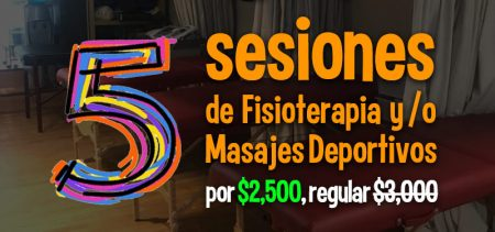 Banner 5 sesiones Fisioterapia o Masaje $2500 - Run4you.mx
